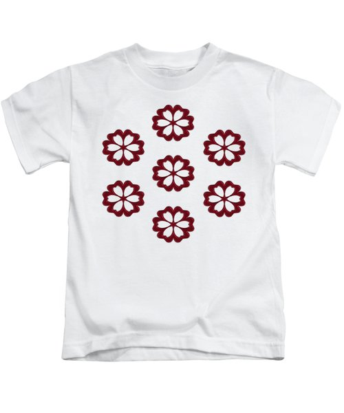 Cyber Flower Red Kids T-Shirt by Daniel Hagerman