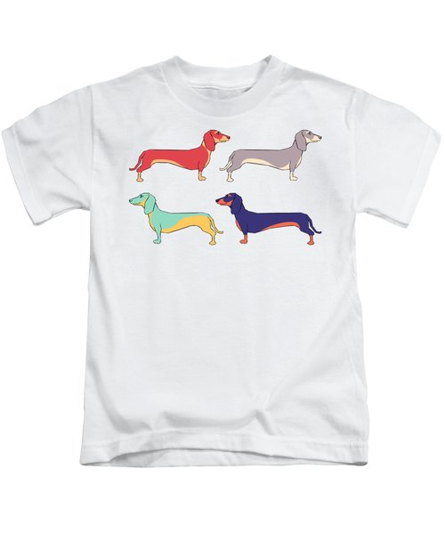 Dachshunds Kids T-Shirt by Kelly Jade King