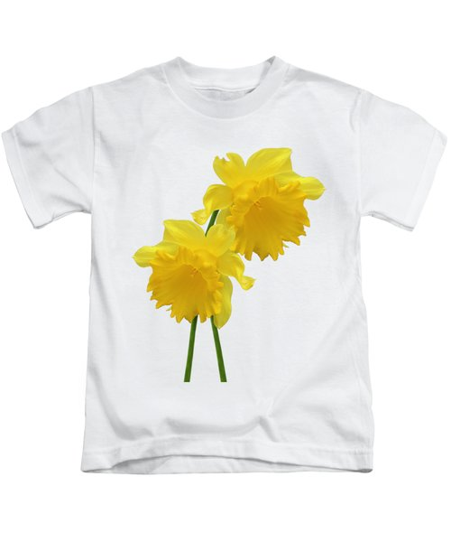 Daffodils On White Kids T-Shirt