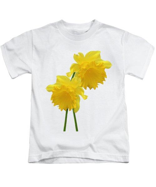Daffodils On White Kids T-Shirt