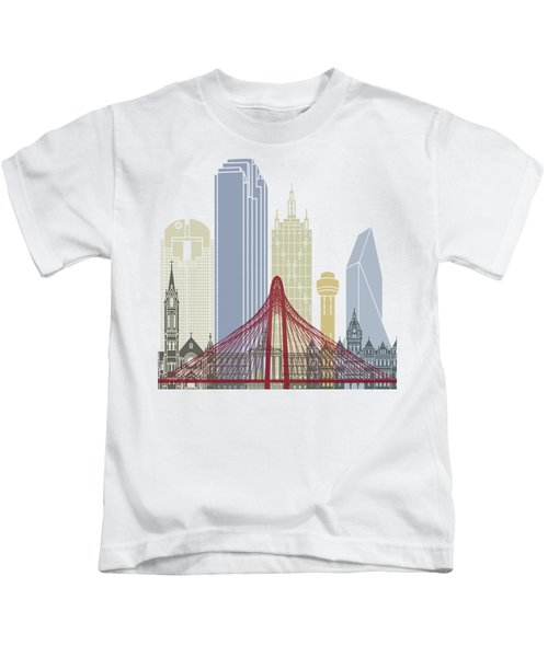 Dallas Skyline Poster Kids T-Shirt by Pablo Romero