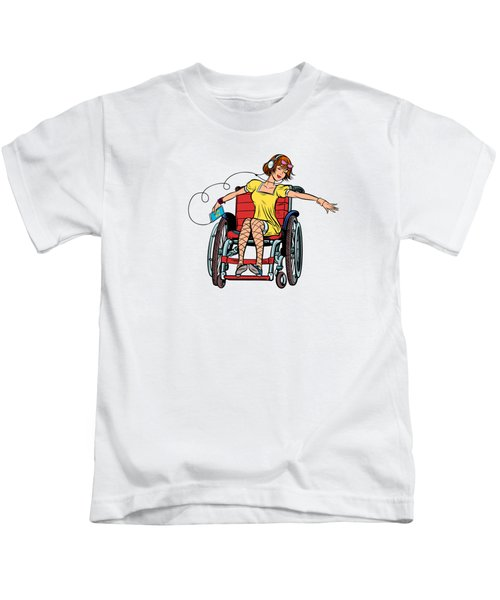 Dancing Girl In A Wheelchair Kids T-Shirt