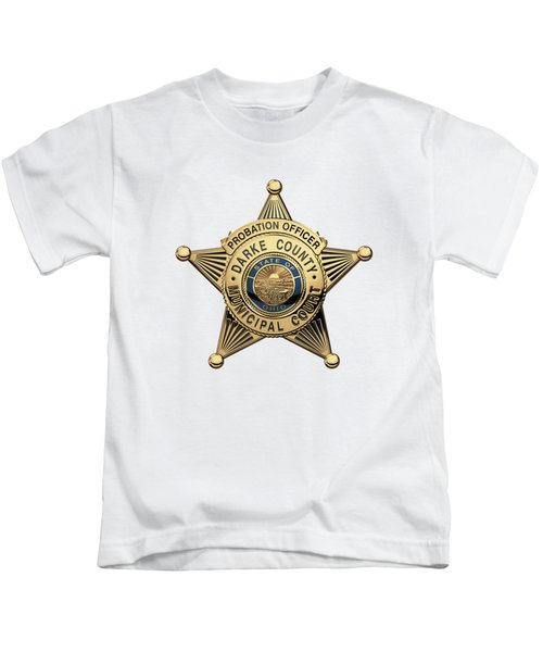 Darke County Municipal Court - Probation Officer Badge Over White Leather Kids T-Shirt