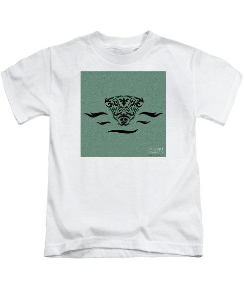 Deep Green Tribal Gator Kids T-Shirt