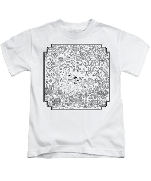 Deer Fantasy Forest Coloring Page Kids T-Shirt by Crista Forest