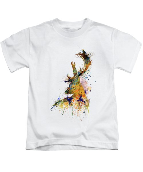 Deer Head Watercolor Silhouette Kids T-Shirt