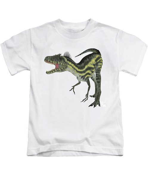 Deltadromeus On White Kids T-Shirt