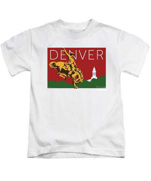 Denver Cowboy/maroon Kids T-Shirt