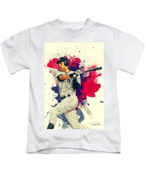 Derek Jeter Kids T-Shirt by Taylan Apukovska
