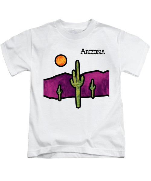 Desert Stained Glass Kids T-Shirt by Methune Hively