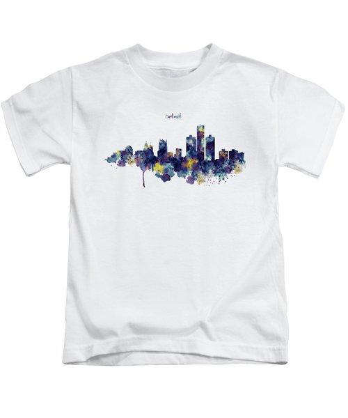 Detroit Skyline Silhouette Kids T-Shirt