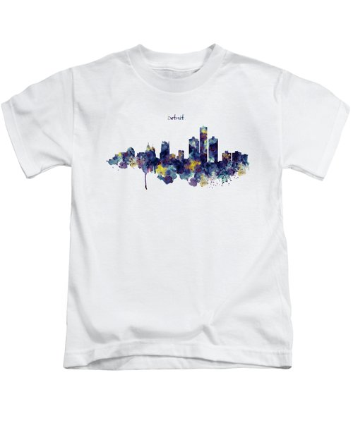 Detroit Skyline Silhouette Kids T-Shirt