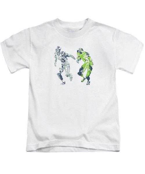 Dez Bryant Richard Sherman Cowboys Seahawks Pixel Art 1 Kids T-Shirt