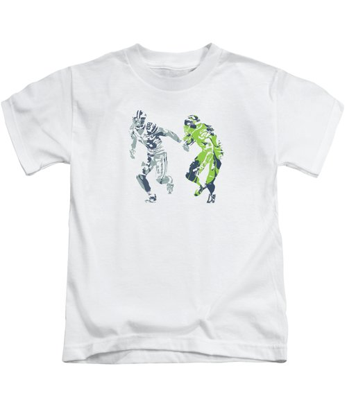 Dez Bryant Richard Sherman Cowboys Seahawks Pixel Art 1 Kids T-Shirt
