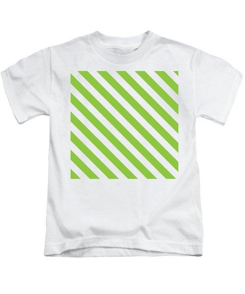 Diagonal Green Stripes Kids T-Shirt