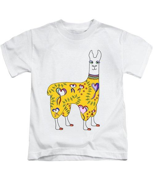 Difficult Llama Yellow Kids T-Shirt by Sarah Rosedahl