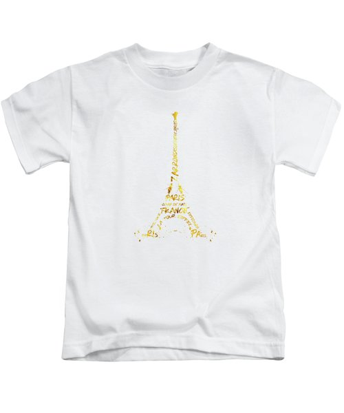 Digital-art Eiffel Tower - White And Golden Kids T-Shirt