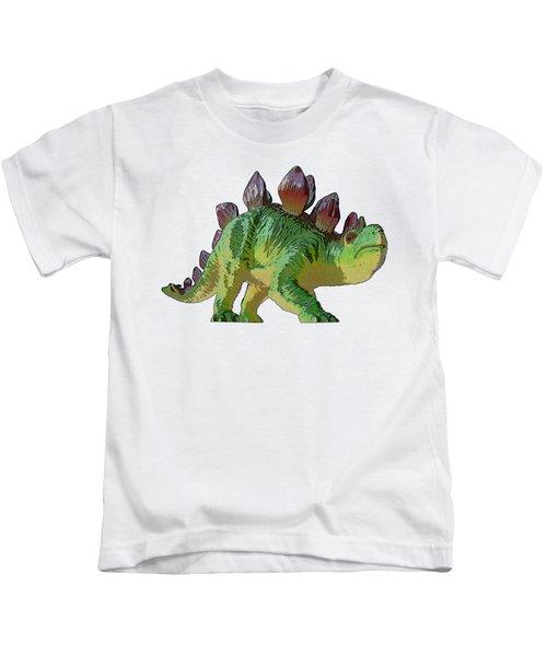 Dino Stegosaurus Kids T-Shirt by Miroslav Nemecek