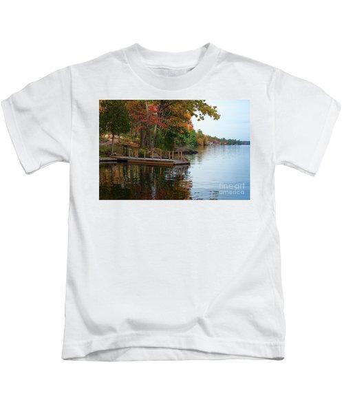 Dock On Lake In Fall Kids T-Shirt