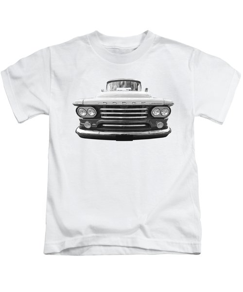 Dodge D100 Sweptside 1958 In Black And White Kids T-Shirt