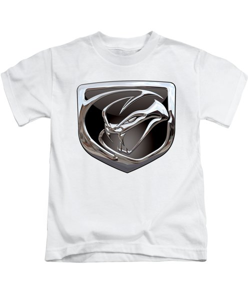 Dodge Viper 3 D  Badge Special Edition On White Kids T-Shirt by Serge Averbukh