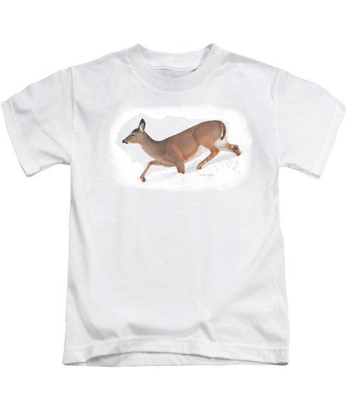 Doe In Deep Snow Kids T-Shirt