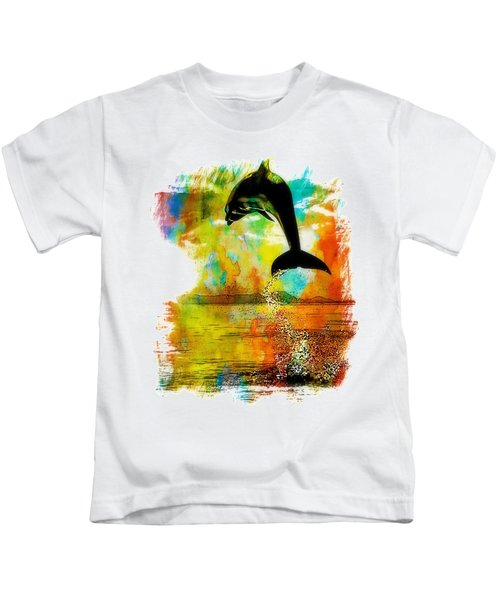 Dolphin Sunset Kids T-Shirt by Kevin Moore