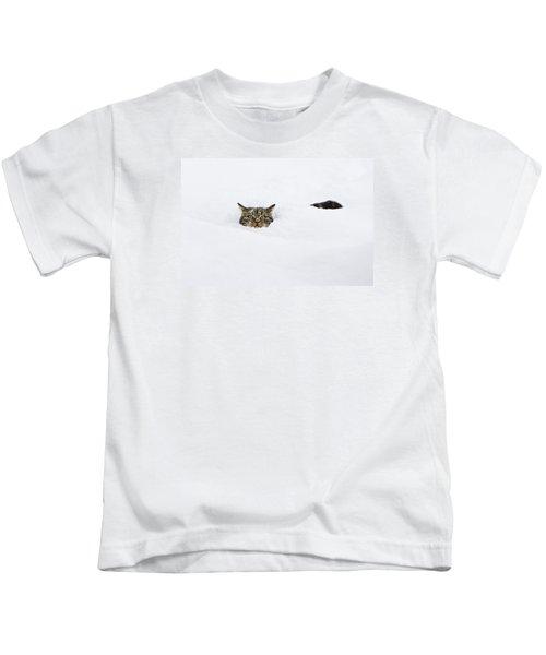 Domestic Cat Felis Catus In Deep Snow Kids T-Shirt
