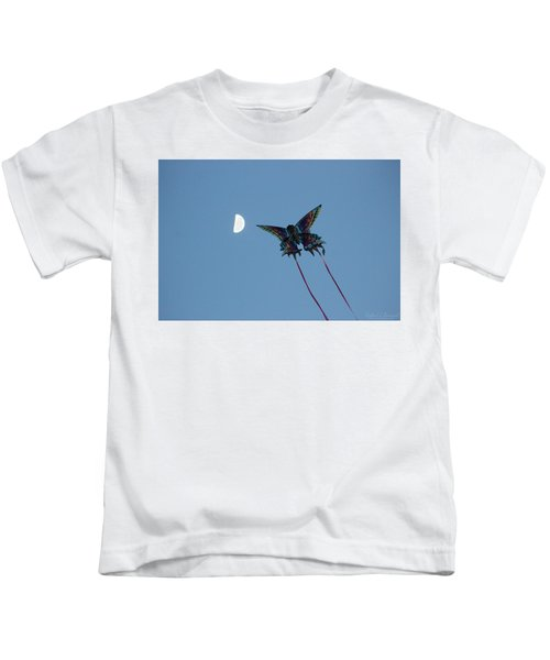 Dragonfly Chasing The Moon Kids T-Shirt