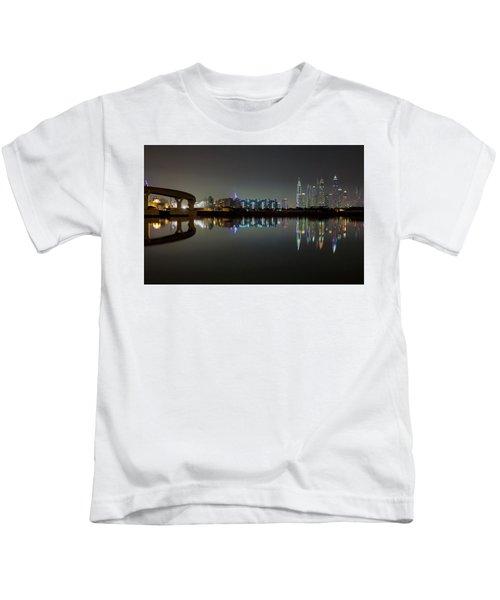 Dubai City Skyline Night Time Reflection Kids T-Shirt