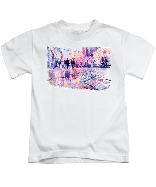 Dublin Watercolor Streetscape Kids T-Shirt by Marian Voicu
