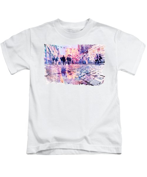 Dublin Watercolor Streetscape Kids T-Shirt