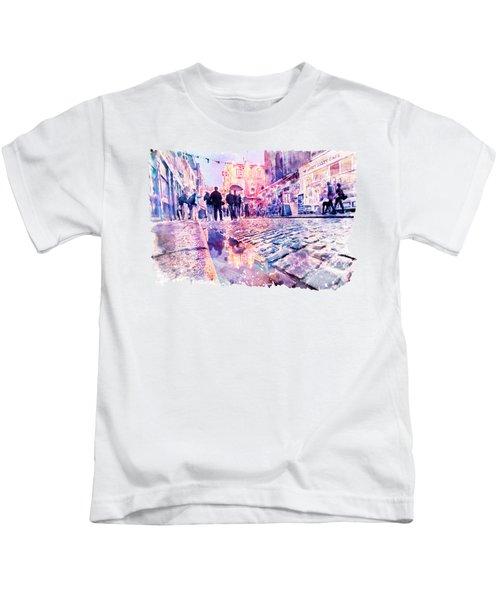 Dublin Watercolor Streetscape Kids T-Shirt