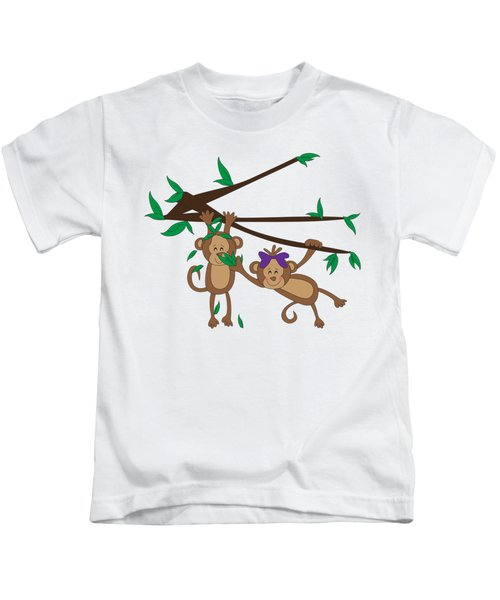 Duffworkscreative-monkeyfunlove-tickle Kids T-Shirt