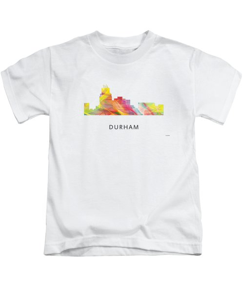 Durham North Carolina Skyline Kids T-Shirt by Marlene Watson