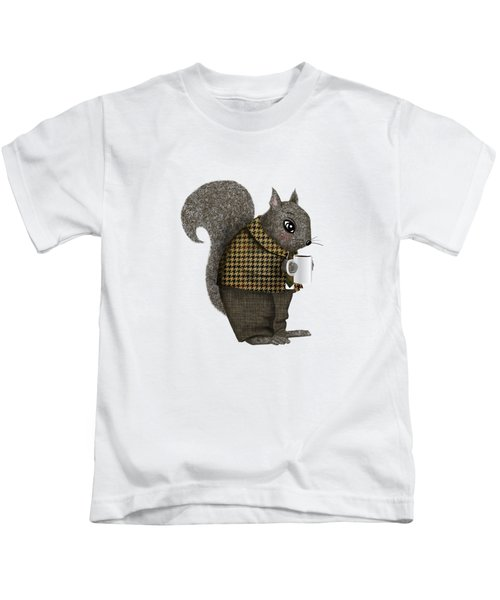 Early Morning For Mister Squirrel Kids T-Shirt by Little Bunny Sunshine