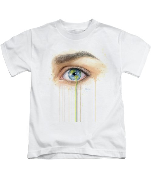 Earth In The Eye Crying Planet Kids T-Shirt