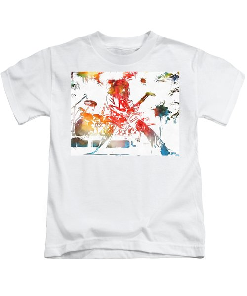 Eddie Van Halen Paint Splatter Kids T-Shirt by Dan Sproul