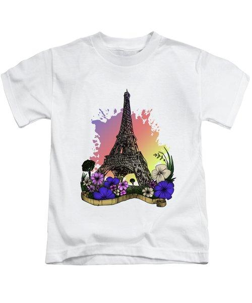 Eiffel Tower Kids T-Shirt by Adam Santana