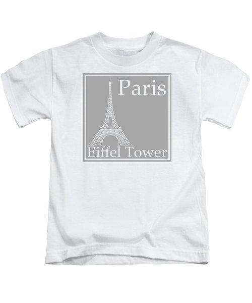 Eiffel Tower In Gray Kids T-Shirt by Custom Home Fashions