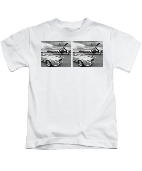 Eleanor Mustang With P51 Black And White Kids T-Shirt by Gill Billington