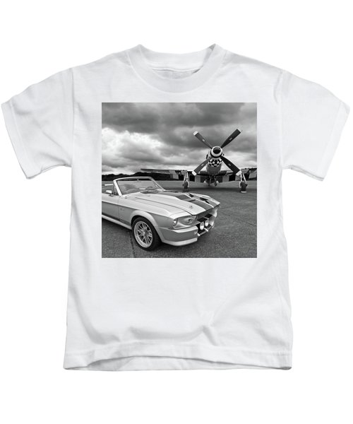 Eleanor Mustang With P51 Black And White Kids T-Shirt