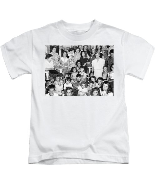Eleanor Roosevelt And Children Kids T-Shirt by Underwood Archives