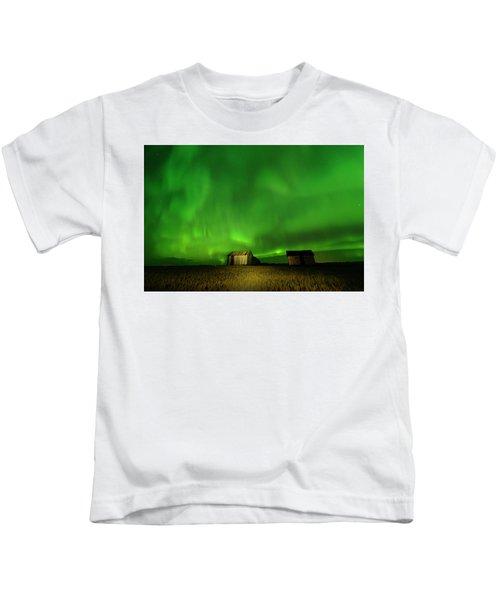 Electric Green Skies Kids T-Shirt