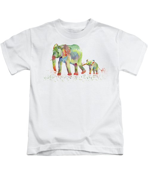 Elephant Family Watercolor  Kids T-Shirt