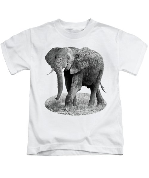 Elephant Happy And Free In Black And White Kids T-Shirt