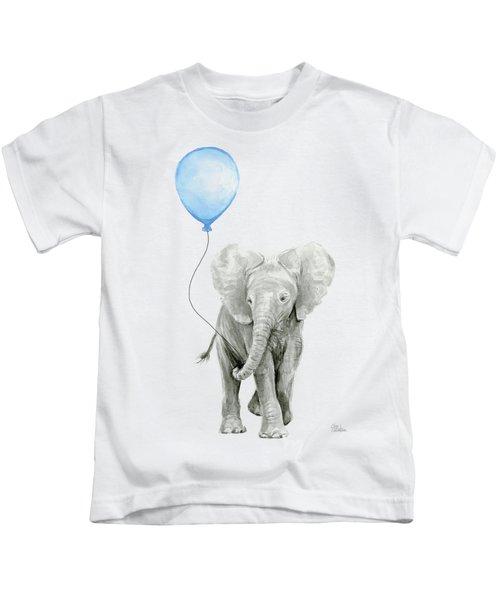 Elephant Watercolor Blue Nursery Art Kids T-Shirt