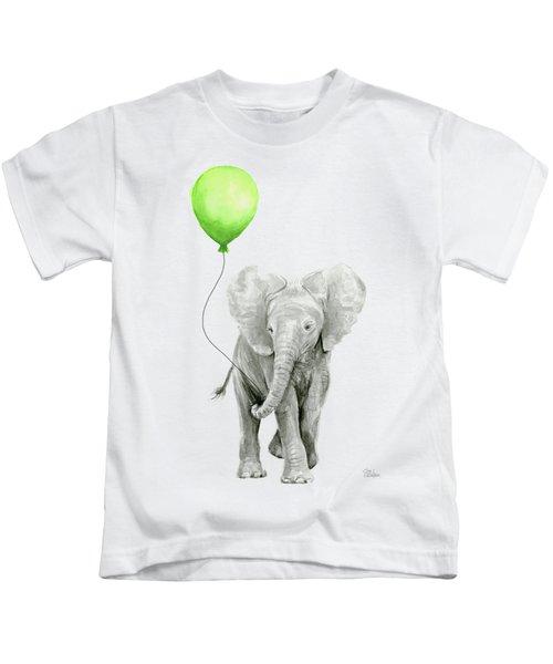 Elephant Watercolor Green Balloon Kids Room Art  Kids T-Shirt