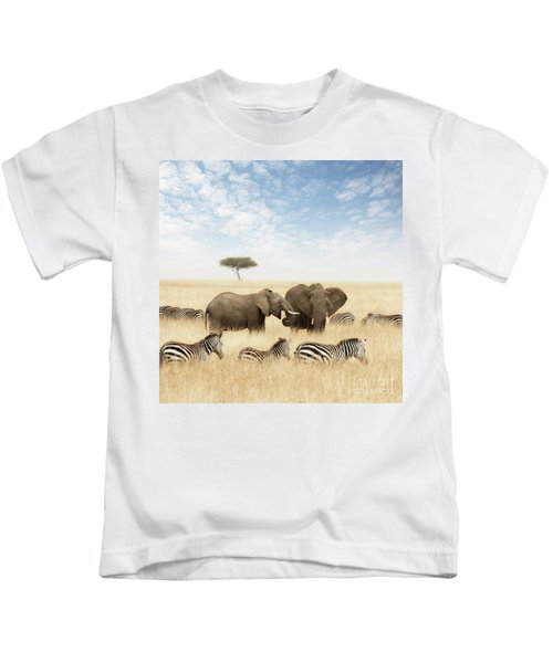 Elephants And Zebras In The Grasslands Of The Masai Mara Kids T-Shirt