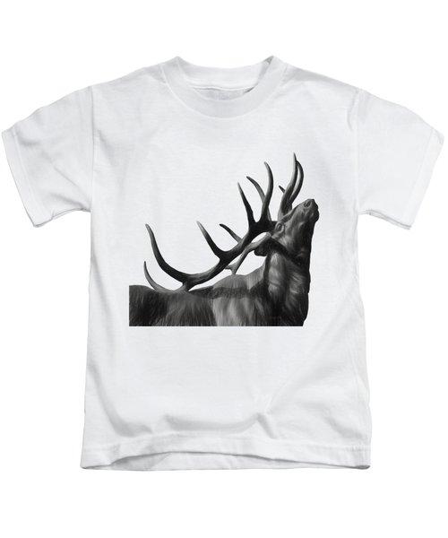 Elk In Black In White  Kids T-Shirt